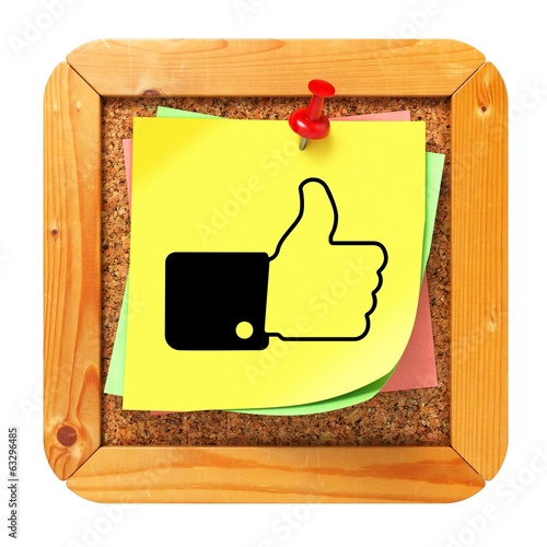 Thumb Up - Yellow Sticker on Message Board.