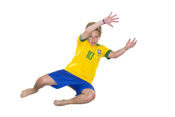 Brazilian Boy, jumping, keeper, yellow and blue