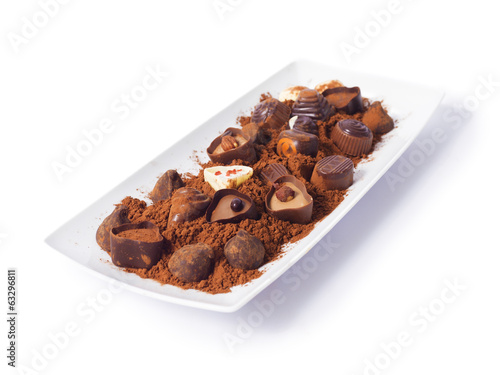 Differents chocolates on a white background