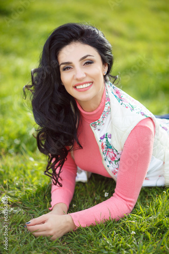 Beautiful woman outdoor portrait spring summer