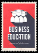 Business Education on Red in Flat Design.