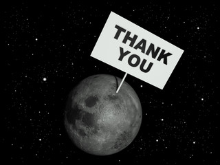 "Message board on moon with the text words ""Thank you"""