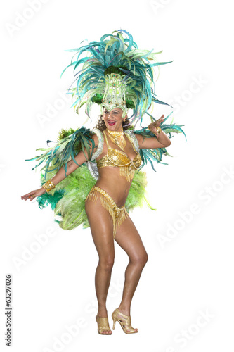Carnival, Samba Dancer, dressed in feather costume, World Cup