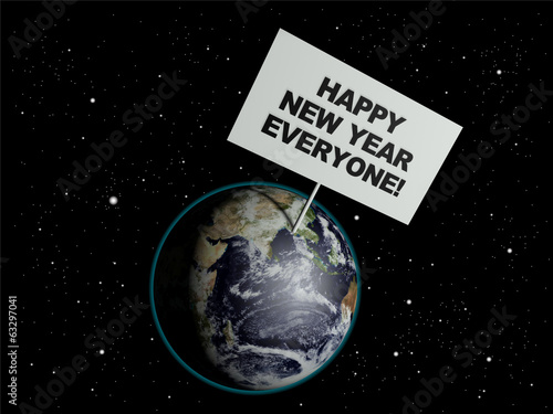 Message board on earth with the words 'Happy New Year Everyone'