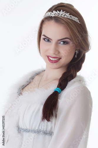 Portrait of lovely young woman smiling at camera