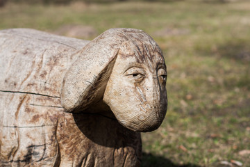 Wooden sheep sculpture