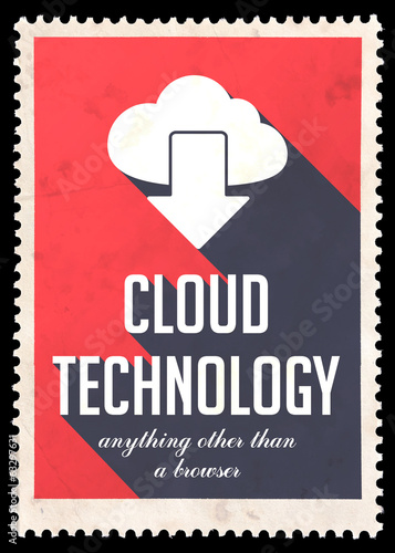 Cloud Technology on Red in Flat Design.