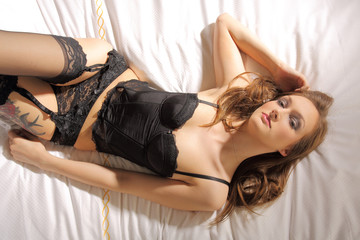 sexy woman in black lace