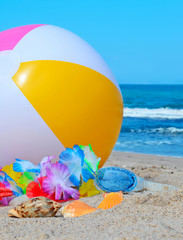 beach ball and shells