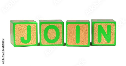 Join - Colored Childrens Alphabet Blocks.
