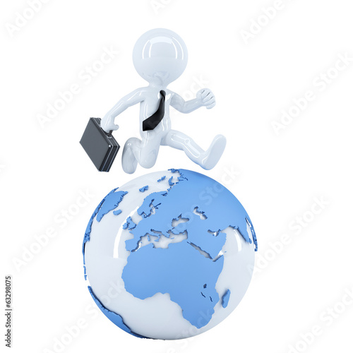 Businessman running around a globe. Isolated on white background