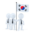 Team with flag of South Korea. Isolated with clipping path