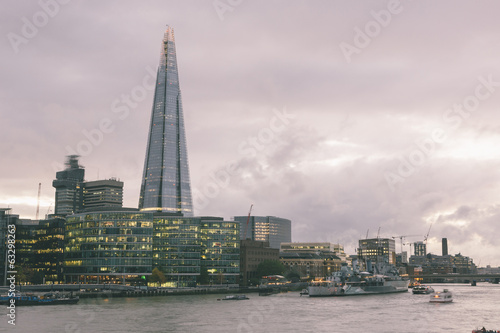 London Skyline with Shard Skyscraper at Twilight