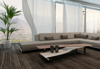 Modern Living Room Interior with white curtains