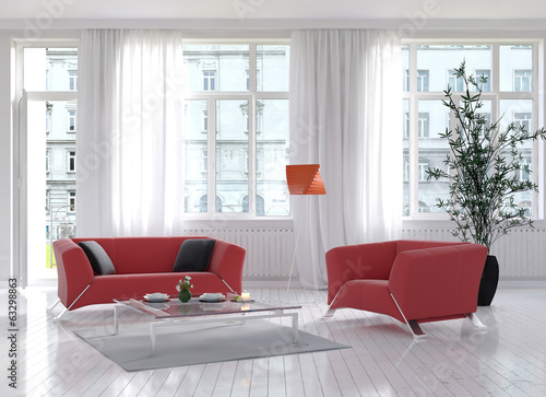 Sunny light living room interior with red couch and floor lamp
