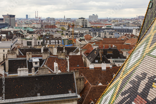 Vienna, Austria. View of city roofs from a survey platform