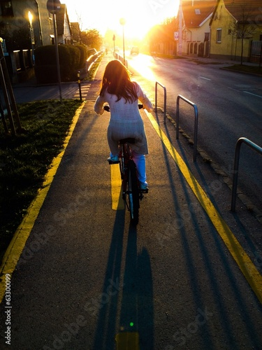 young girl cycling