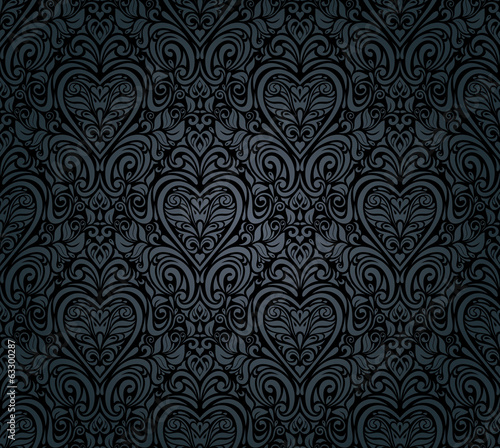 Black vintage seamless floral wallpaper