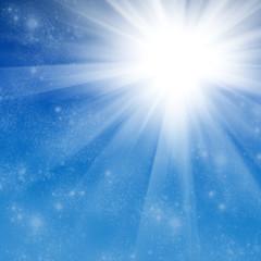 The sun in the blue sky