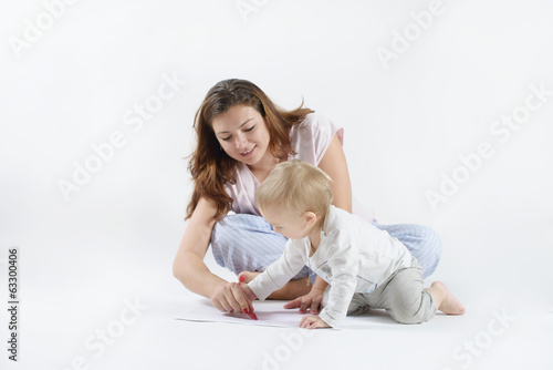 son and mother are drawn on the floor
