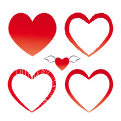 Rote Herzen - Herz mit Flügel