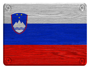 Slovenia flag painted on wooden tag
