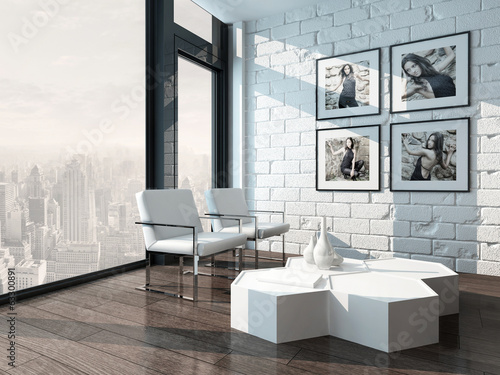 Minimalist living room interior with white brick wall and chairs