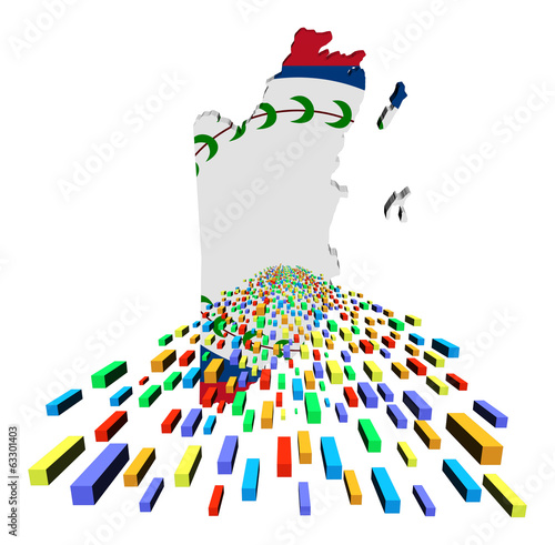 Belize map flag with containers illustration