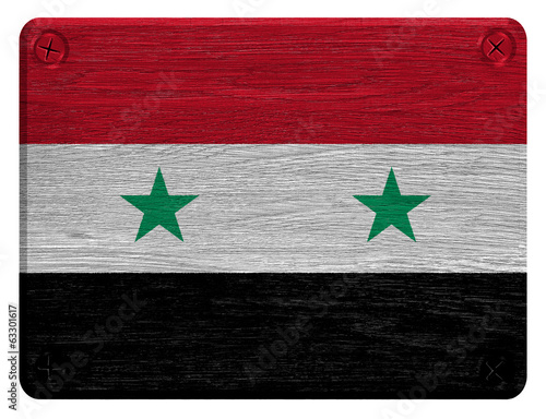 Syria flag painted on wooden tag