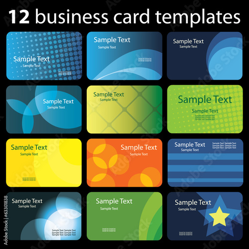 Set of Colorful Business Card Backgrounds