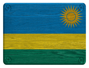 Rwanda flag painted on wooden tag