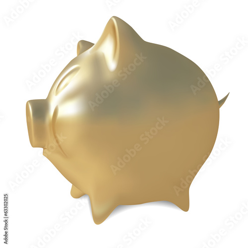 Golden piggy bank.Vector illustration