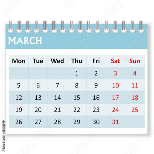 Calendar sheet for march