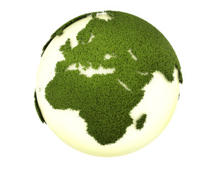 World map from grass - isolated over a white background
