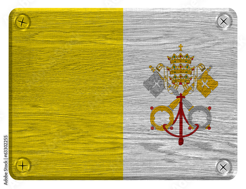 Vatican City flag painted on wooden tag