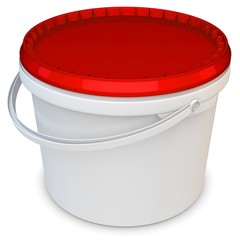 3d blank white tub paint plastic bucket container