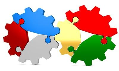 3d colorful puzzle gear