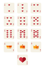 hearts playing card set