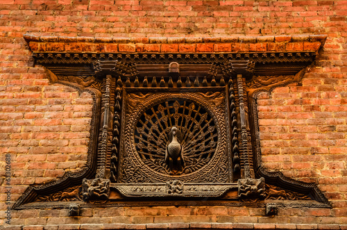 Detail of carved peacock window in Bhaktapur, Nepal