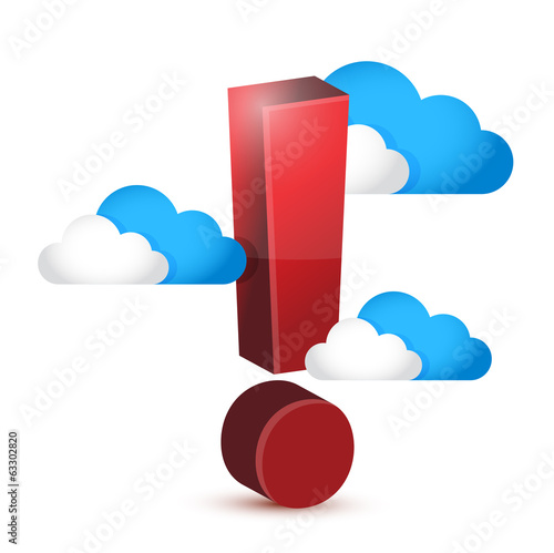 exclamation symbol around clouds. illustration