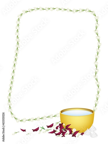 Frame of Jasmine Garland with Water Bowl for Songkran Festival