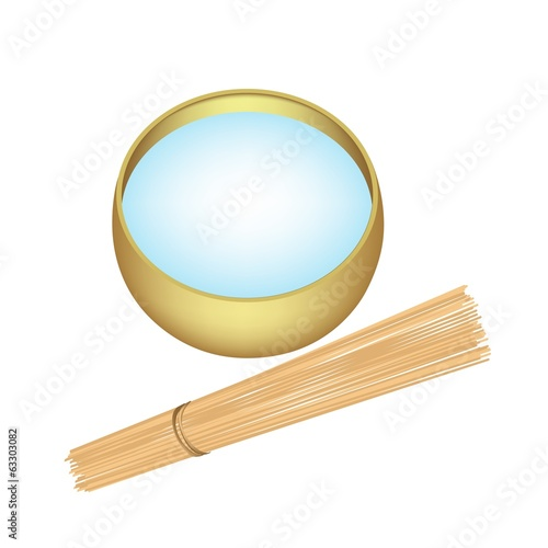 Holy Water in Alms Bowl with Wooden Stick