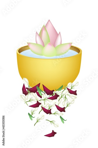 Lotus Flower in A Bowl for Songkran Festival