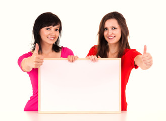 successful young woman with whiteboard, white background