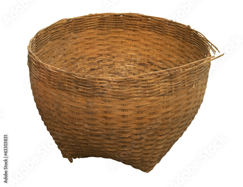 empty bamboo basket isolated on white