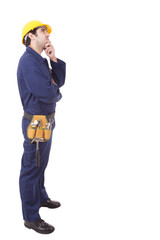Full body portrait of a thoughtful young worker, isolated on whi