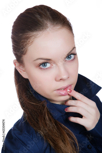 Woman touching her lips isolated