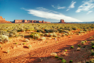 Sunny evening in Monument Valley. Arizona.