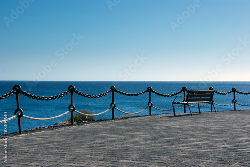 empty bench in playa  blanca, lanzarote