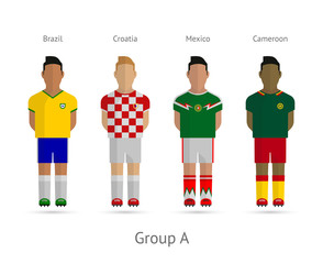 Football teams. Group A - Brazil, Croatia, Mexico, Cameroon